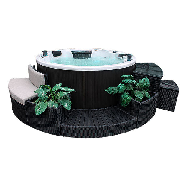 Round Spa Surround Furniture - 5 Piece Entertainment Centre