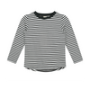 Nearly Black Cream L/S Striped Tee
