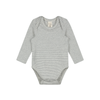 Long Sleeved Bodysuit | Grey Cream Stripe