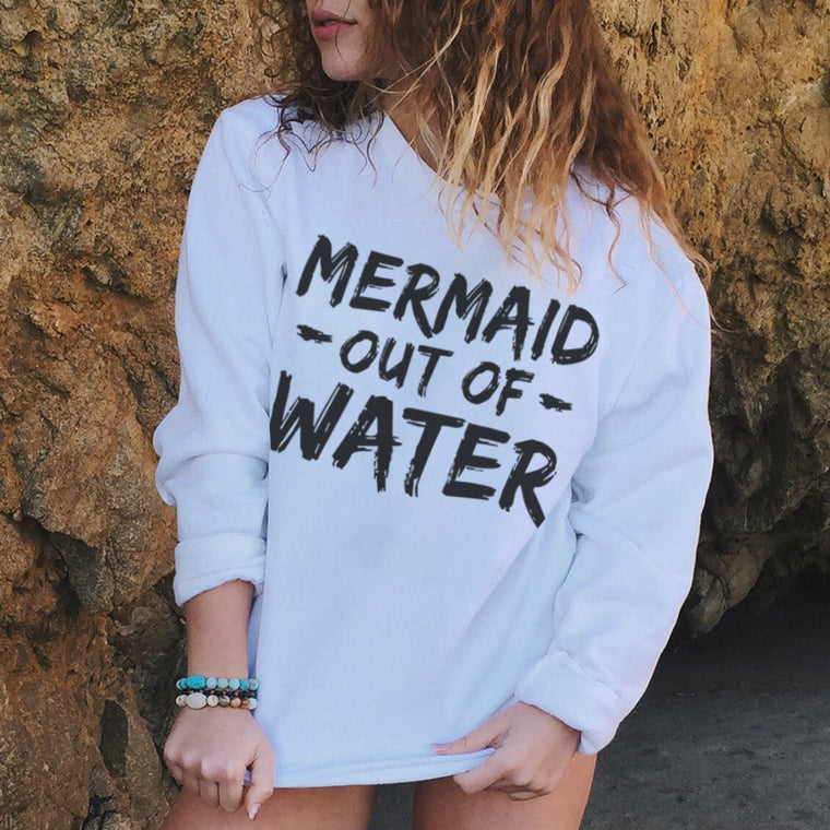 Mermaid Out of Water Flex Fleece Crewneck Pullover