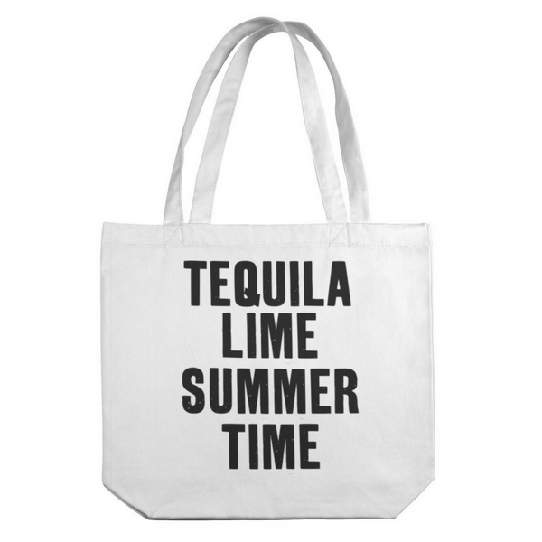 Tequila, Lime, Summer Time Canvas Tote