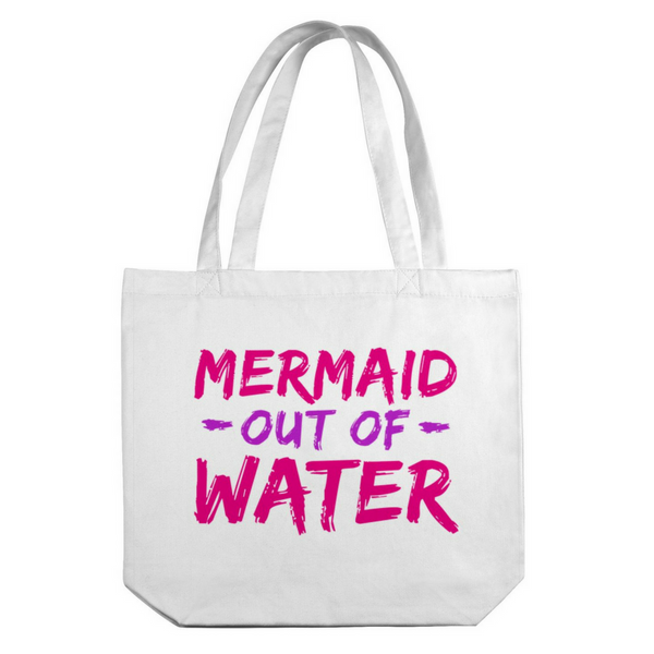 Mermaid Out of Water Canvas Tote