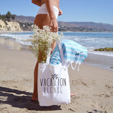 Vacation Please Canvas Tote
