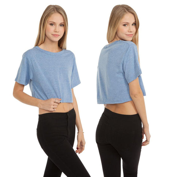 La Playa Por Favor! Tri-Blend Short Sleeve Crop Top