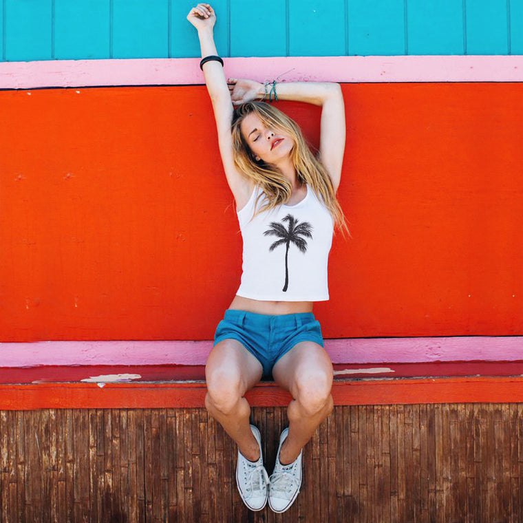 Palm Tree Breeze Baby Crop Tank