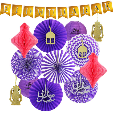 Gold Eid Letter Bunting, Purple Fans, Gold Glitter Foam Lanterns, Purple Paper Lanterns & Pink Hanging Honeycombs Decoration Set