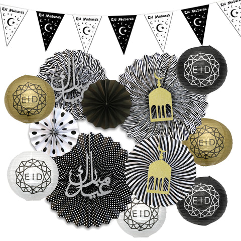 Black & White Bunting, Black & White Fans w/ Symbols + 6pc Geo Paper Lanterns Decoration SET 3