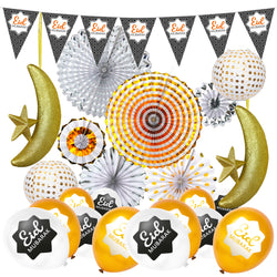 Pattern Eid Bunting, Gold & Silver Fans, Polka Dot Paper Lanterns, Eid Balloons + 2pc Gold Foam Hanging Moon & Star  Decoration Set 18