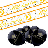 Eid Mubarak Black & Gold Mosque Design 10x Balloons & White & Gold Banner Set