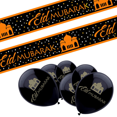 Eid Mubarak Black & Gold Mosque Design 10x Balloons & Black & Gold Banner Set