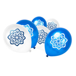 White & Blue Islamic Star / Flower Balloons (12 Pack)