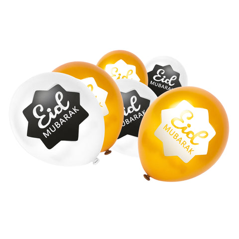 White & Gold Eid Mubarak 8-Pointed Star Balloons (12 Pack)