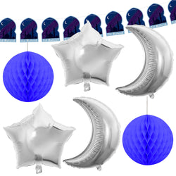 Navy Mosque Bunting, 4pc Foil Moon & Star Balloons + 2pc Blue Honeycombs Decoration SET 12