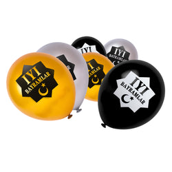 Gold, Silver & Black İyi Bayramlar Turkish Star Balloons (15 Pack)