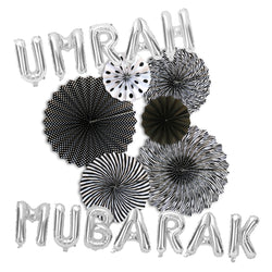 Umrah Mubarak Silver Foil Balloons & Black/White Paper Fans Decorations Set