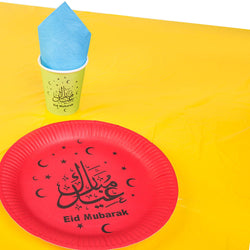 Red Plate 'Eid Mubarak' Multicolour Eid Tableware Set