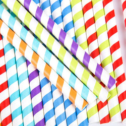 Jumbo Wide Multicolour Stripy Hard Rigid Drinking Straws
