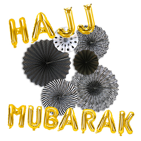 Hajj Mubarak Gold Foil Balloons & Black/White Paper Fans Decorations Set