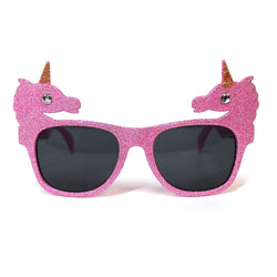 Pink Glitter Unicorn Novelty Fancy Dress Glasses