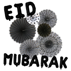 Black/White Paper Fans & Black Gold Foil Eid Mubarak Balloons Decorations Set