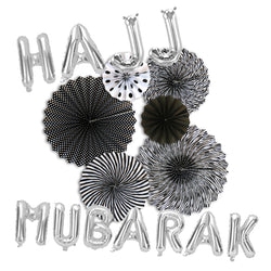 Hajj Mubarak Silver Foil Balloons & Black/White Paper Fans Decorations Set