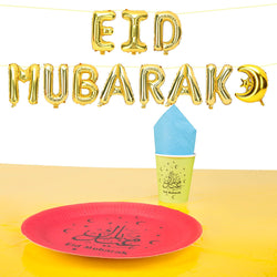 Red Plate Multicolour Tableware & Gold Eid Mubarak Foil Balloons Set
