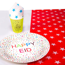 "Multicolour Star Pattern ""Happy Eid"" Tableware Set"