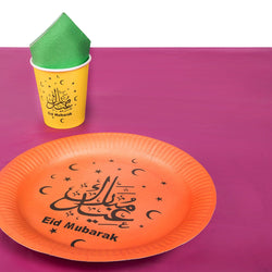 Orange Plate 'Eid Mubarak' Multicolour Eid Tableware Set