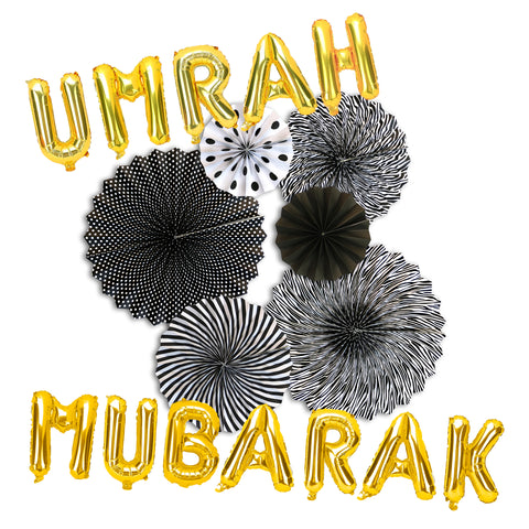 Umrah Mubarak Gold Foil Balloons & Black/White Paper Fans Decorations Set