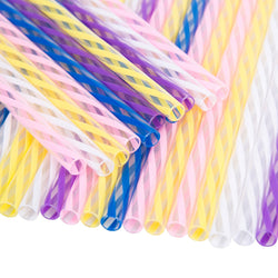Jumbo Wide Clear/Multicolour Spiral Hard Rigid Drinking Straws