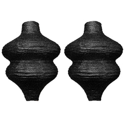 Pack of 2 Ornate Glitter Paper Hanging Lantern Decorations - Black
