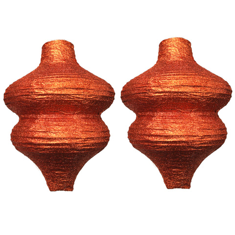 Pack of 2 Ornate Glitter Paper Hanging Lantern Decorations - Copper