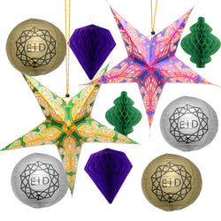 Silver / Gold Geo Paper Lanterns + Green & Pink Stars + Purple & Green Honeycomb Lantern Decoration Set
