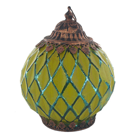 Lime Green & Blue Diamond Pattern Glass LED Lantern Candle