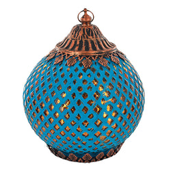 Blue Crosshatch Pattern Glass LED Lantern Candle