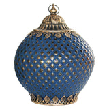 Navy Blue Crosshatch Pattern Glass LED Lantern Candle