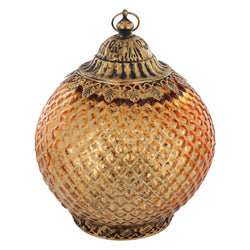Gold Crosshatch Pattern Glass LED Lantern Candle