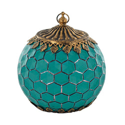 Teal Hexagon Pattern Glass LED Lantern Candle