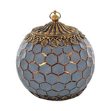 Grey Hexagon Pattern Glass LED Lantern Candle