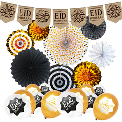 Arabic Hessian Bunting, Black & Gold Paper Fans + White & Gold Eid Balloons Decoration SET 4