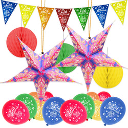 Multicolour Eid Bunting, 2 Large Stars, 3pc Paper Honeycombs + Multicolour Balloon Decoration SET 21