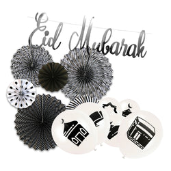 Black & White Symbol Balloons, Paper Fans & Silver Bunting Decoration Set