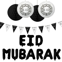 Eid Mubarak Black Foil Balloons, Bunting & Hanging Honeycomb & Lantern Balls Party Set
