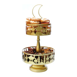 2-Tier Gold Metal Eid / Ramadan Mosque Cake Stand