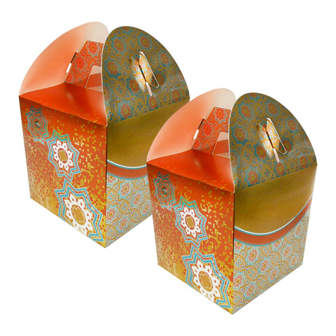 Eid/Ramadan Large Gift & Treat Celebration Boxes - Gold/Orange/Teal (2 Pack)