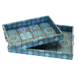 Set of 2 Moroccan Teal Wooden Iftar Tea Serving Tray