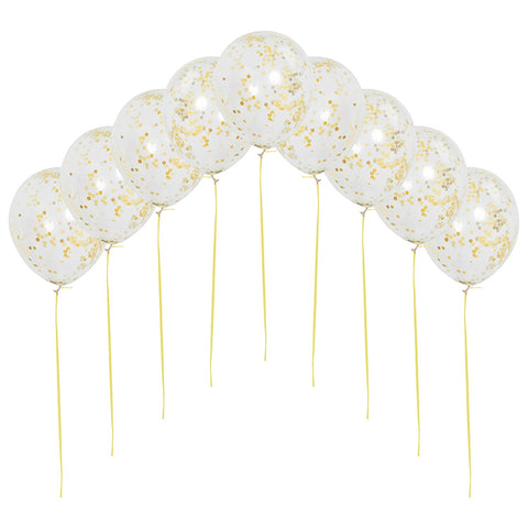 Clear Confetti Balloons with Matching Ribbon (9 Pack)