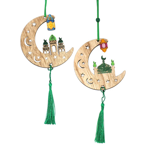 Set of 2 Green Wooden Crescent Moon Hanging Decorations