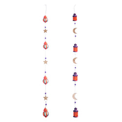 Set of 2 Long 100cm Wooden Lantern Moon & Stars Hanging Decorations