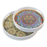 Set of 2 Circular Wooden Geometric Printed Pattern Iftar Serving Trays